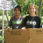 Students assisting with new student move in and recycling